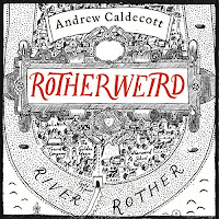 Rotherweird audiobook cover, an intricate map illusrated by Sasha Laika in black and red.