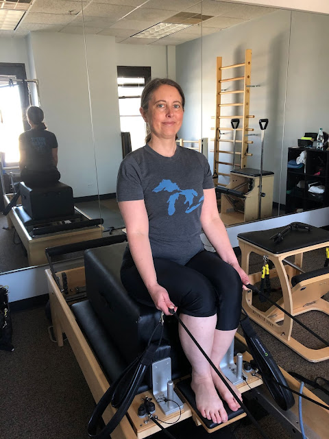 Working on my posture and core stability with pilates with Iryna Pantelyuk.
