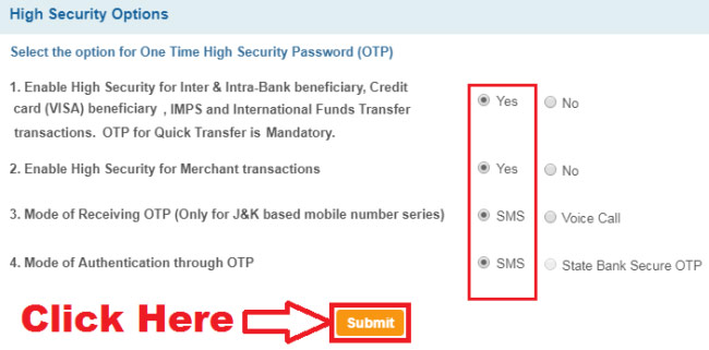disable high security transaction password sbi