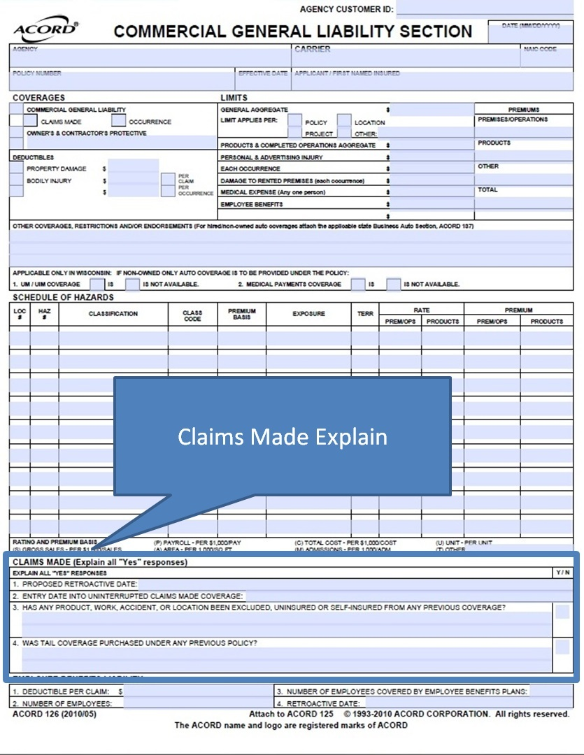 Simply Easier Acord Forms Acord 126 Claims Made And Employee