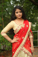 Akshara in Red Saree Golden Choli at LV Movie Makers Production No 1 Movie Opening ~  Exclusive 040.JPG