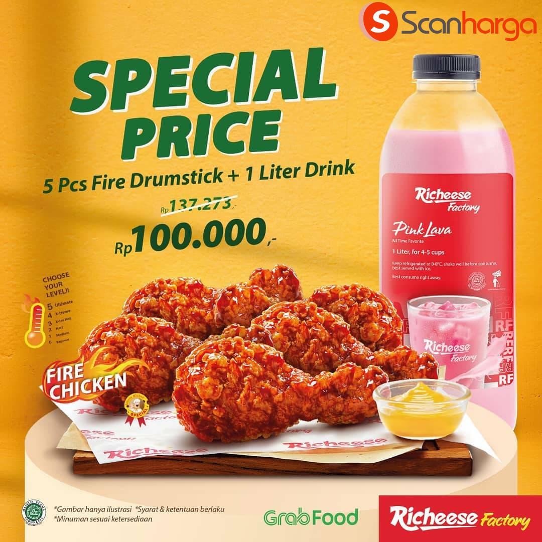 RICHEESE FACTORY Promo SPECIAL PRICE 5 FIRE DRUMSTICK + 1L MINUMAN cuma Rp. 100.000
