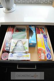 Organized drawer of foils, wraps, clips and baggies :: OrganizingMadeFun.com