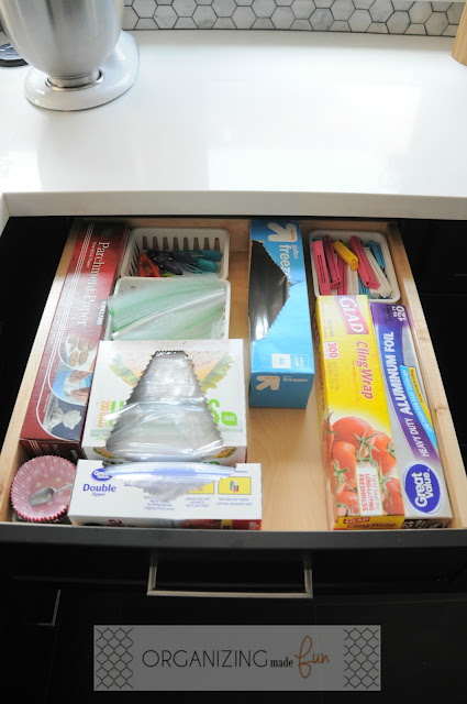 Organized drawer of foils, wraps, clips and baggies :: OrganizingMadeFun.com