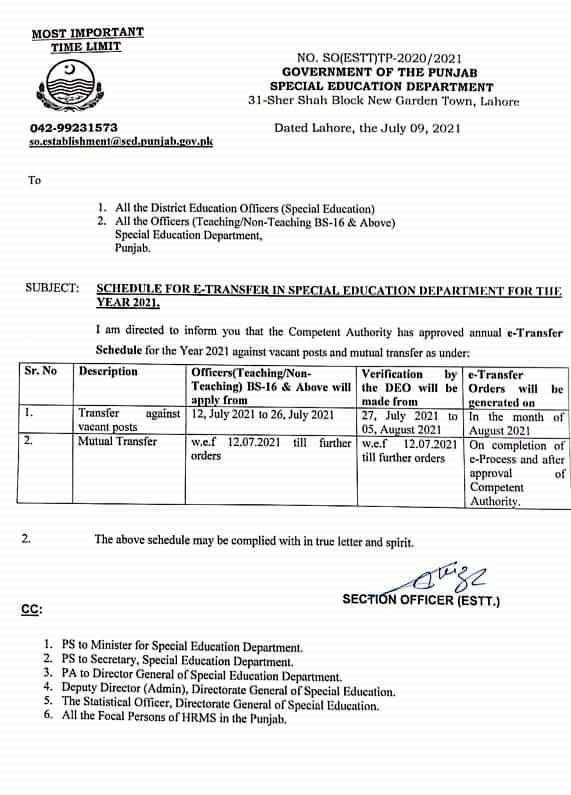 e-TRANSFER SCHEDULE FOR SPECIAL EDUCATION DEPARTMENT
