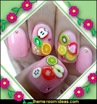 fruit themed nail decorations-fruit nail stickers-fruit nail decals