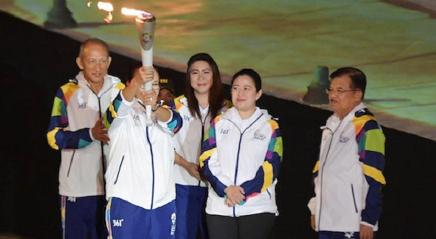 Puan Dampingi JK Saksikan Dimulainya Torch Relay Asian Games 2018