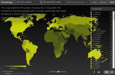 Travelscope: sitio web que muestra en un mapa online interactivo, a que países se puede viajar sin visa