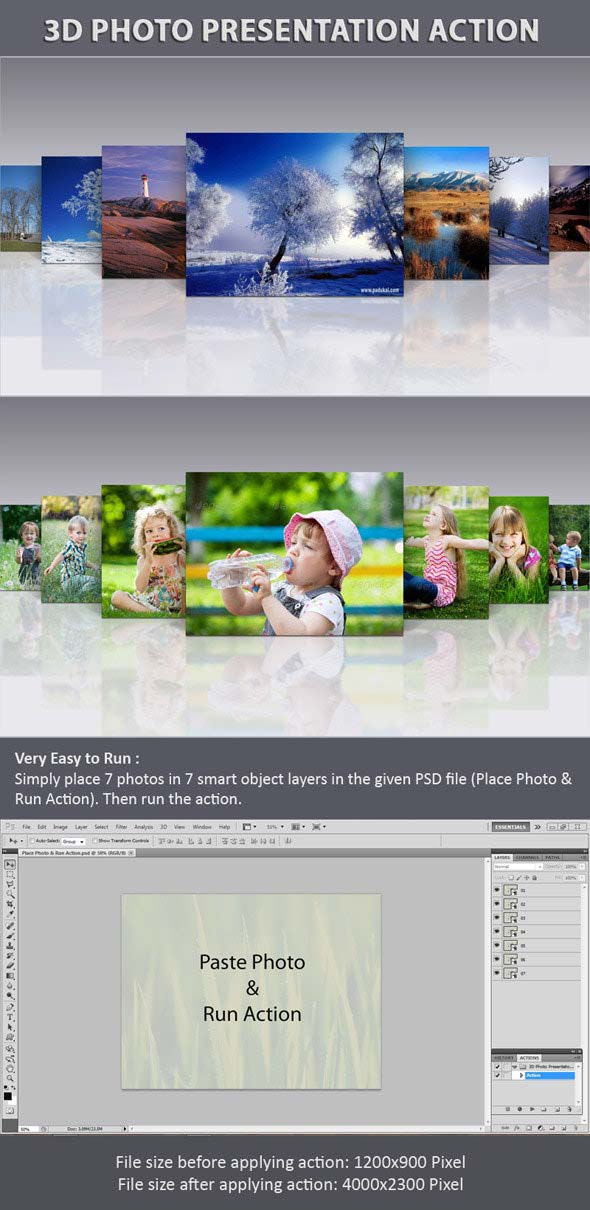 3D Photo Presentation Action And PSD Templates Pack