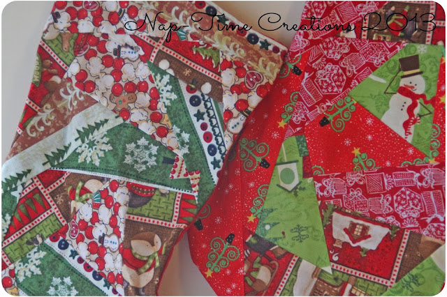 paper piecing Christmas stockings