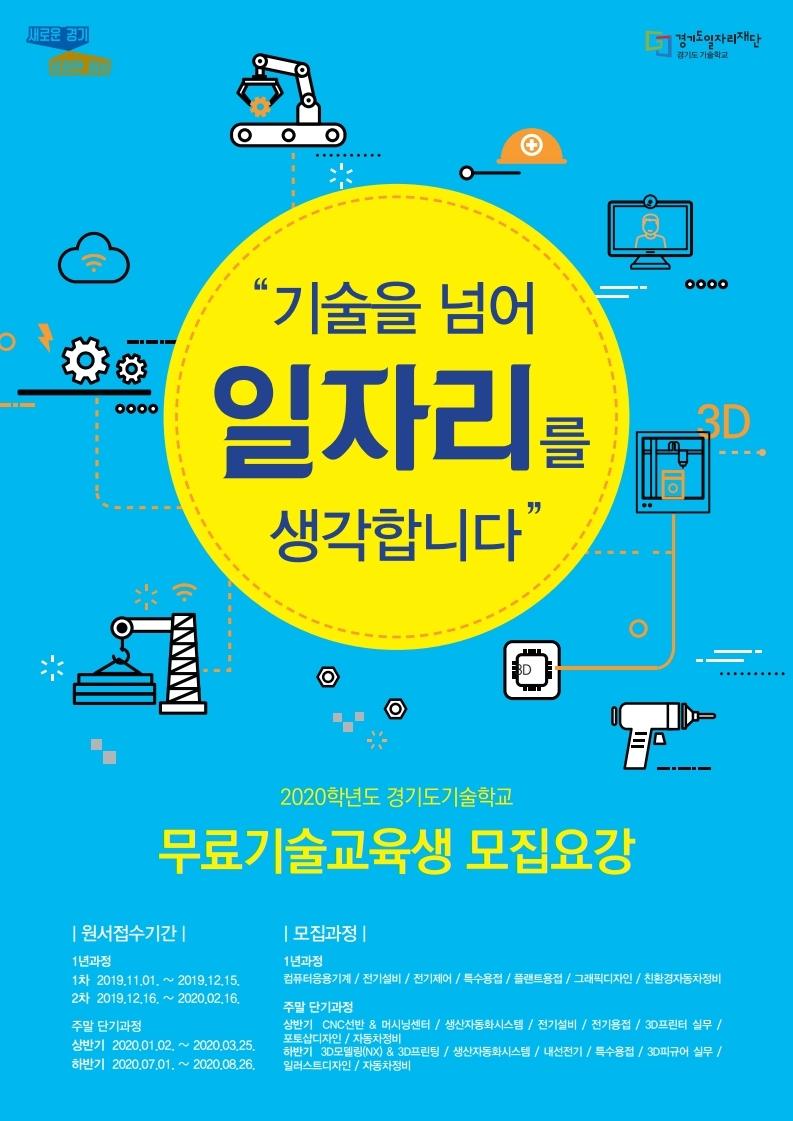 경기도기술학교, 2020학년도 무료기술교육생 총 200명 모집
