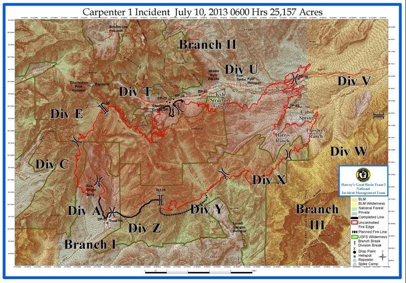 Around The Bend Friends Carpenter One Fire Map Update 10am 7 10 13
