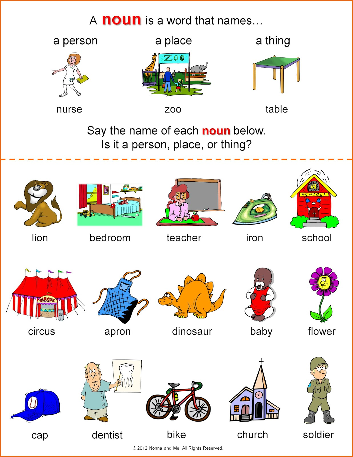 sort the common and proper nouns | 1st grade noun worksheet