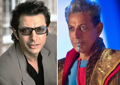 Jeff Goldblum en su papel de Ian Malcom en 'Parque Jurásico' (izda.) y del Gran Maestro en 'Thor. Rganarok' (dcha.)
