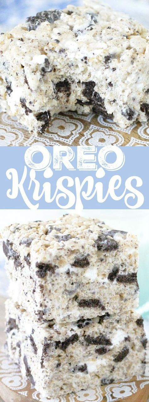 This is the classic Krispie treat recipe on steroids with the addition of crushed OREO cookies. Thick, chewy and completely irresistible.