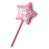 A bright pink star with a bright pink thin cylindrical straw on a bright background