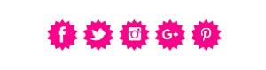 social icons σε φούξια χρώμα