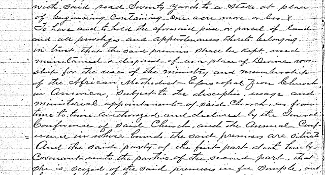 Amanuensis Monday: Charity Ambrose Deed to Mt. Olive Methodist Church --How Did I Get Here? My Amazing Genealogy Journey