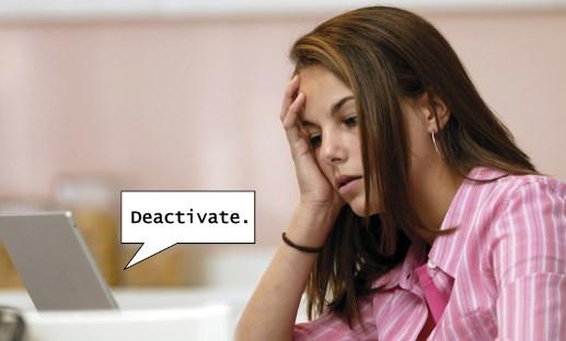 Facebook temporarily deactivate account