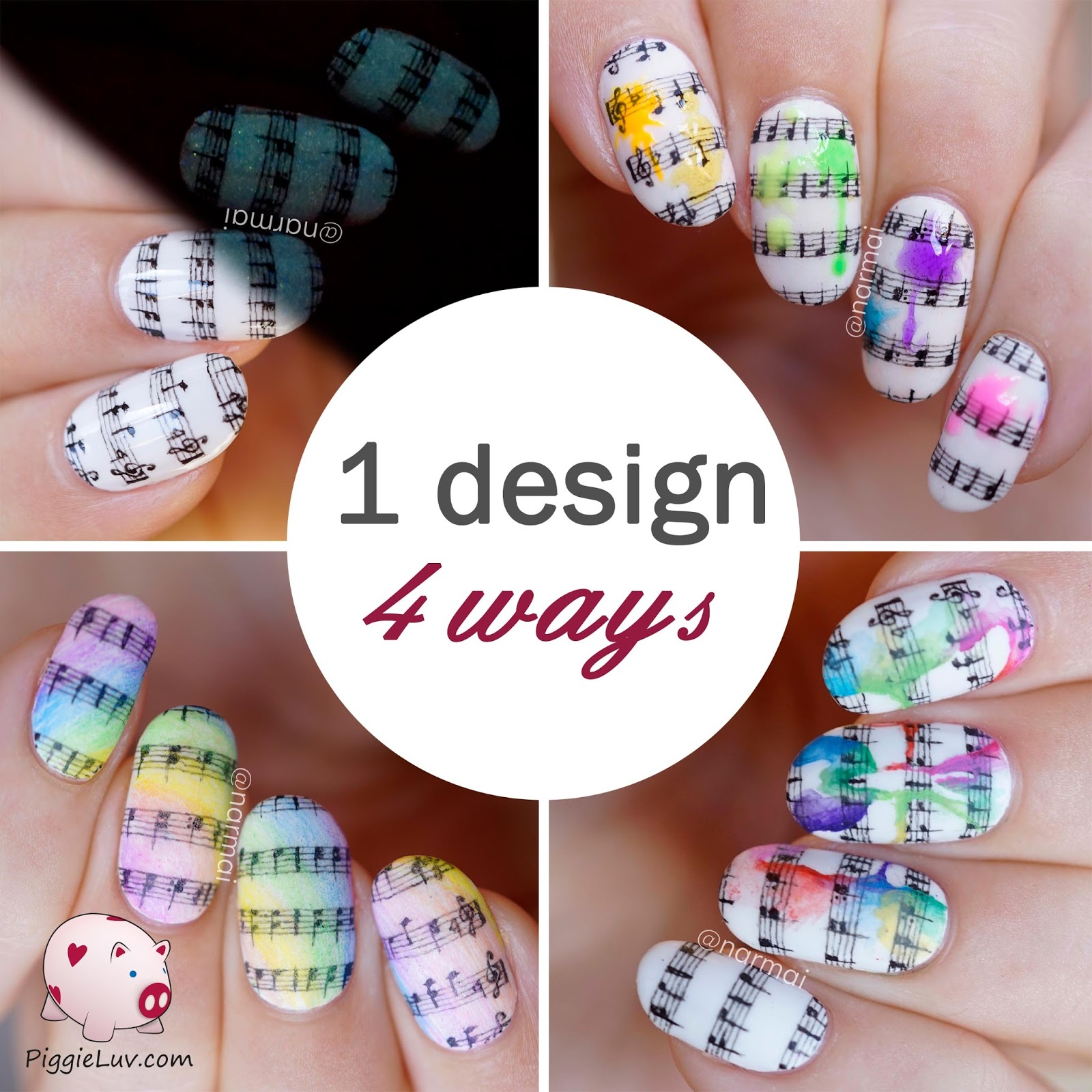 PiggieLuv: 1 nail art design, 4 ways + video tutorial!