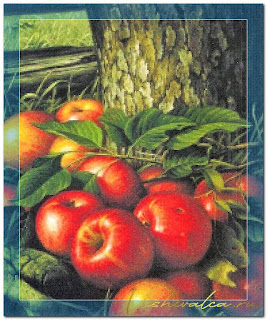 "Download cross stitch scheme PRE012 ""Apples and Tree Trunk"" Scarlet Quince"