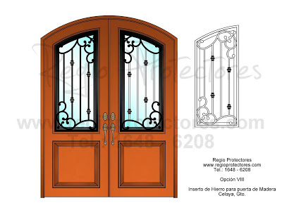 Regio protectores insertos de hierro forjado para puerta for Puertas de hierro y madera