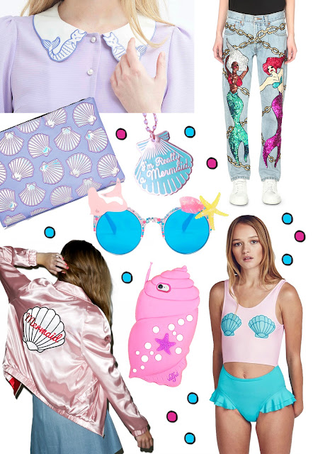 mermaids in fashion, shells, cute mermaid shopping
