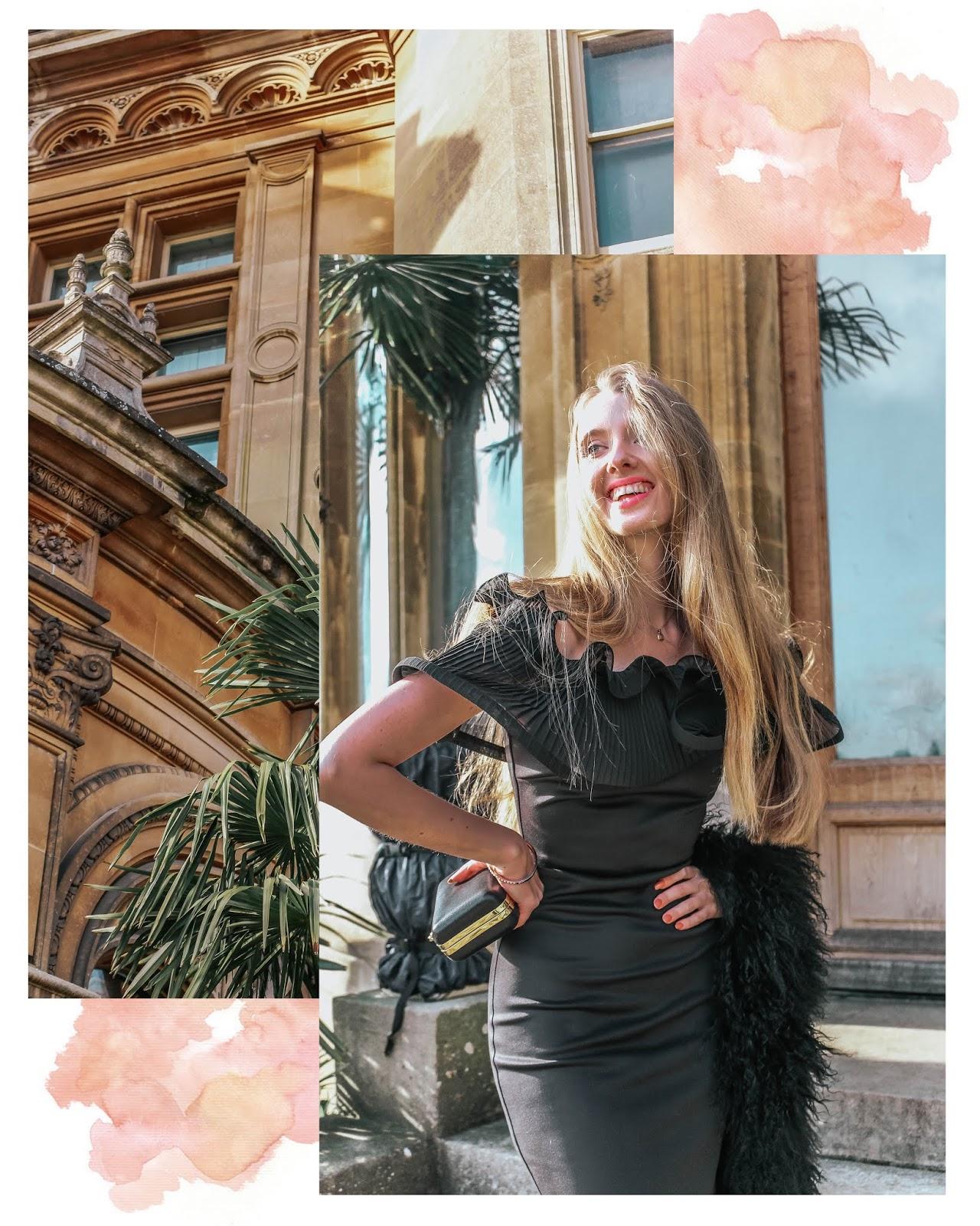 ASOS Lipsy Black Ruffle Bardot Maxi Dress Styling