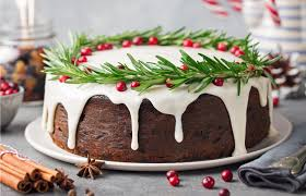 A round cake for Christmas and New Year