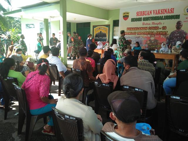 Dukung Serbuan Vaksinasi Covid-19 Kepada Masyarakat Oleh Kodim 0207/Simalungun