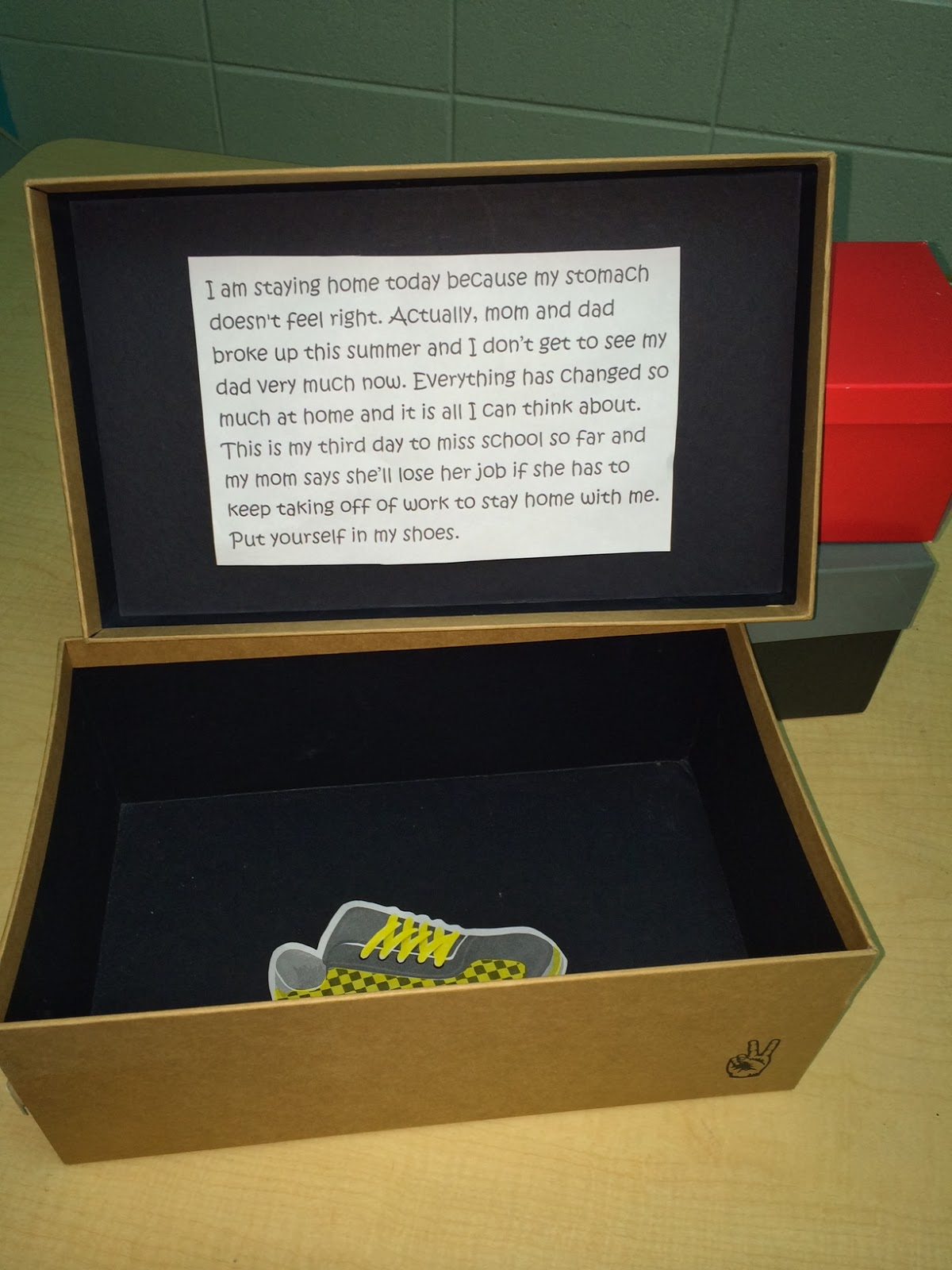 Stand in My Shoes activity lesson using shoeboxes and different scenarios