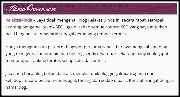 Blog Relaks Minda - Malaysia Best Blog 2015