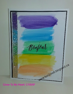 watercolour rainbow card CTMH French stamp