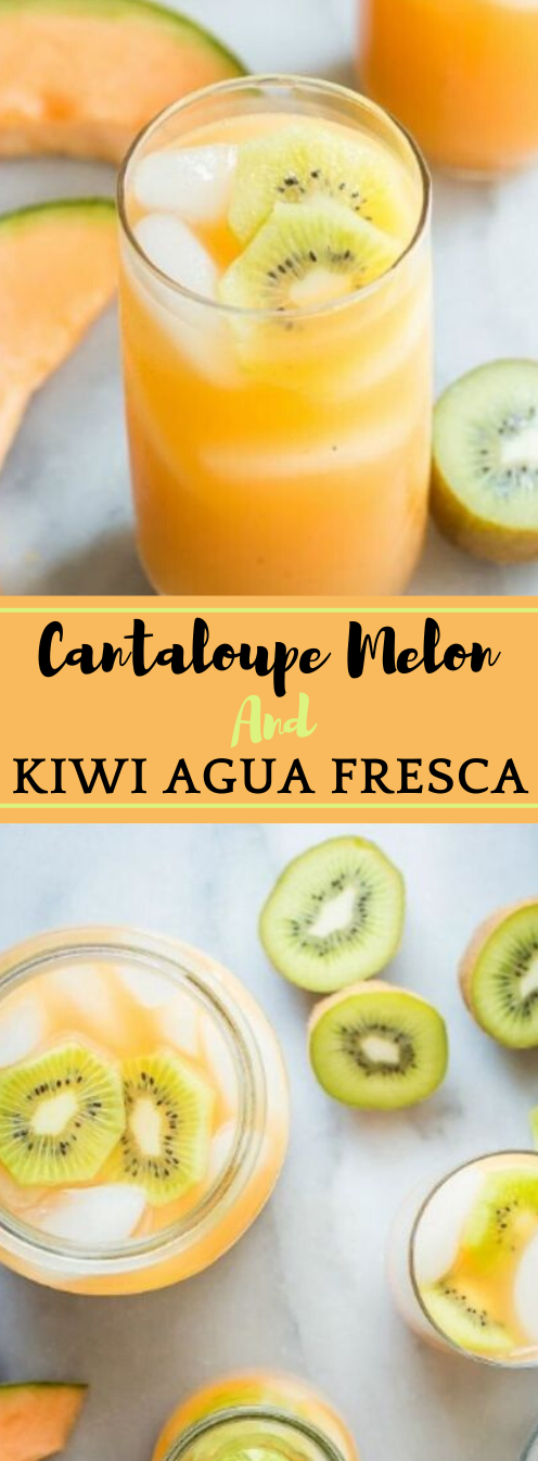 CANTALOUPE MELON AND KIWI AGUA FRESCA #healthydrink #melon #kiwi #sangria #cocktail
