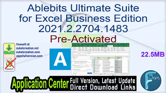 Ablebits Ultimate Suite for Excel Business Edition 2021.2.2704.1483 Pre-Activated