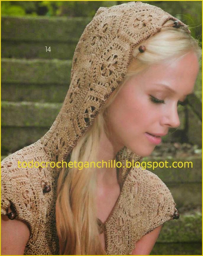 Patrones de Blusa con capucha tejida con hexágonos con ganchillo - molde y patrón