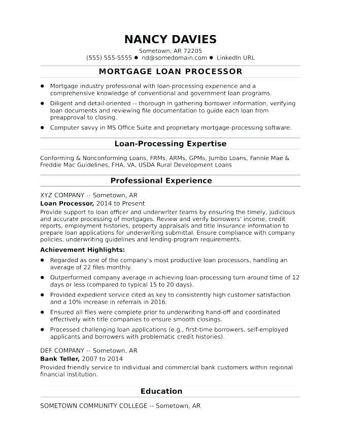 Monstercom Resume Templates Examples Monster Mortgage Loan Processor Sample