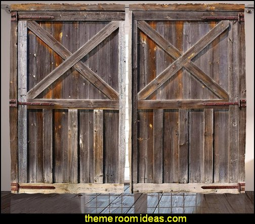 Old Wooden Barn Door  Farmhouse Countryside shower curtains farm themed decor