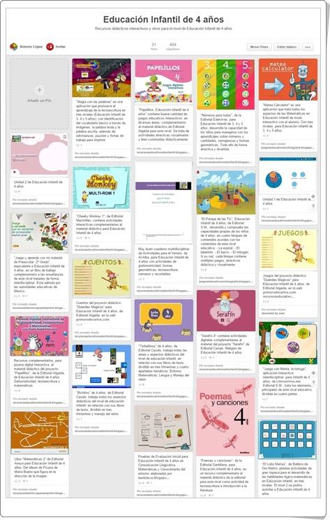 Tablero de juegos y actividades de EDUCACIÓN INFANTIL DE 4 AÑOS