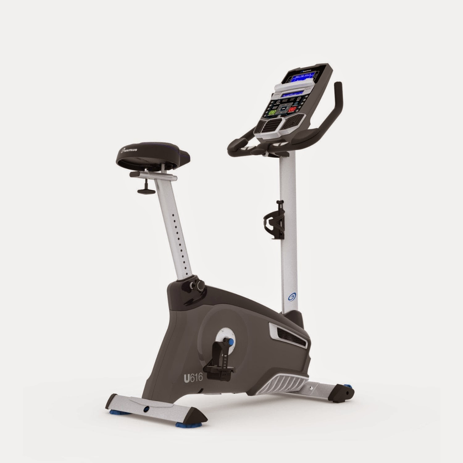 Nautilus U616 Upright Exercise Bike, features compared with Nautilus U614, more workout programs & resistance levels, plus Bluetooth LE connectivity, fore/aft adjustable seat, 4 user profiles