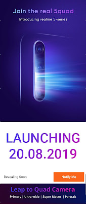 Realme 5, Realme 5 Pro with Quad rear camera to launch in India on August 20