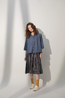小領微甜七分袖單寧藍襯衫
