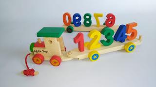 Kereta Angka Mainan Kayu Edukatif