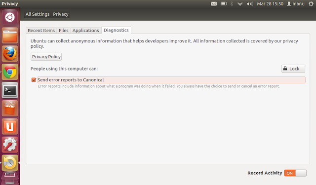 Ubuntu 12.04 LTS Privacy Setting