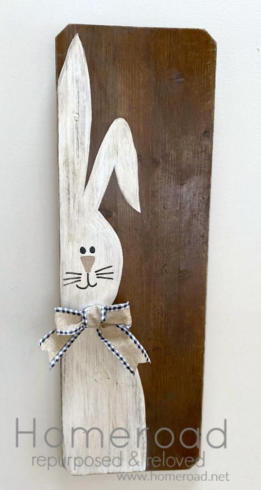 Painted bunny sign with bow and overlay