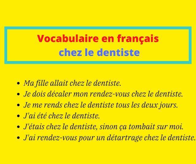 Vocabulaire en français chez le dentiste