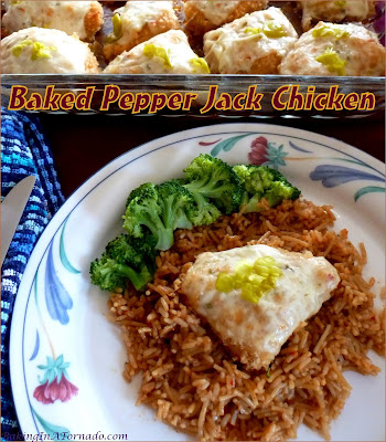 Baked Pepper Jack Chicken is an easy weeknight meal, marinate in the morning, bake that night. Directions include less spicy options for those less daring. | Recipe developed by www.BakingInATornado.com | #dinner #chicken