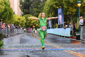 Finishing the Tinker Bell 10K, dressed as Peter Pan