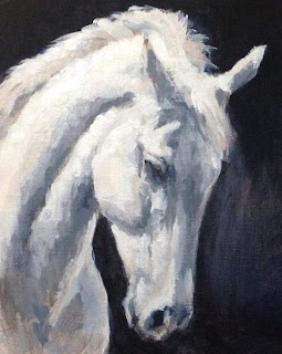 Equestrian Art uk, Acrylic painting grey horse, horse painting
