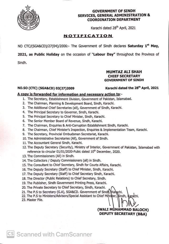 Holiday Notification on 1st May 2021 in Sindh